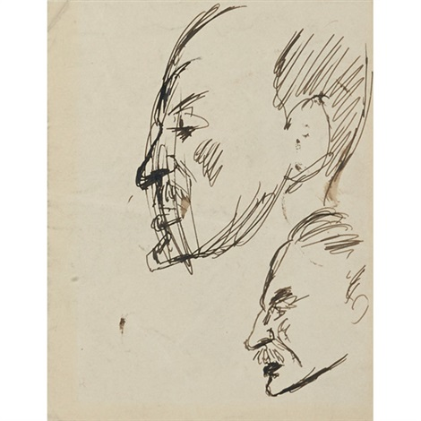 double portrait with caricatures and animals on verso by robert henri
