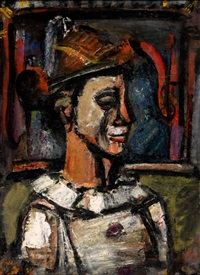 clown de profil by georges rouault