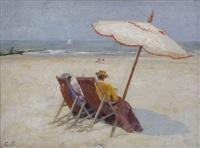 vue d'une plage animée de deux femmes sous un parasol by karel boom