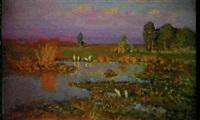 etang au crepuscule by anatoli fomine