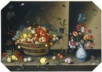 still life of apples, pears, peaches and plums with grapes and walnuts in a wicker basket, together with flowers, including tulips, irises and carnations in a blue and white vase upon a table top by johannes baers