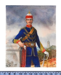 an officer of the 9th regiment of bengal cavalry, wearing gold trimmed blue uniform with red collar, gold and red cross-belt and belt, white helmet by michael bartlett