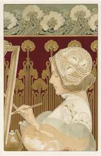 sculptress - the painter (2 works) by henri privat-livemont