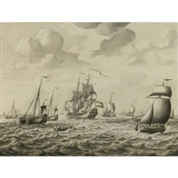 a dutch man-of-war firing a salute, with a flotilla of fishing boats and other shipping beyond, a penschilderij by adriaen van salm