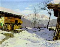 bergbauernhof im winter, im hintergrund der wilde kaiser by hans figura