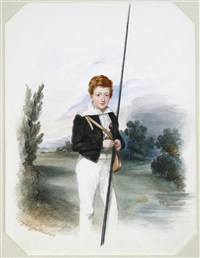 portrait of william samuel deacon, three-quarter length, holding a fishing rod by edwin dalton smith