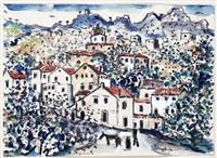 frigiliana (andalusien), blick auf die stadt by hans joachim muller