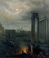 feu de camp au pied des colonnes du temple de saturne et celles du temple de vespasien et de titus dans le forum romain by albert arnz