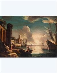 paesaggio con rovine, barche e figure by pietro antoniani