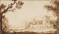 a hilly landscape with figures approaching a castle (recto); two studies of a woman with a child (verso ) by abraham furnerius