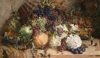 großes dekoratives früchte und blumenstillleben by carl fischer