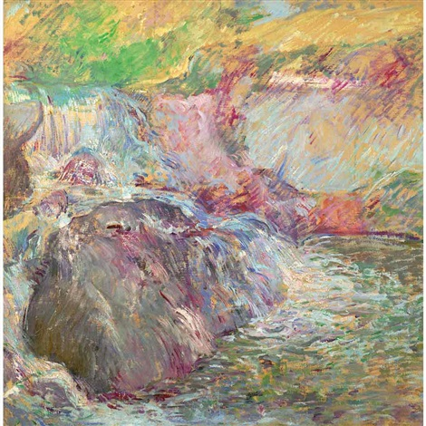 waterfall greenwich circa by john henry twachtman