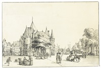 view of the weighhouse in the nieuwmarkt, amsterdam by reinier vinkeles