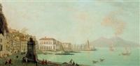 view of mount vesuvius seen from the strada santa lucia, naples by francis smith