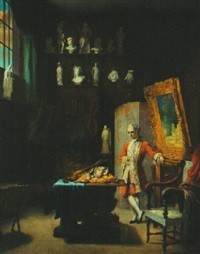 an aristocrat in the artist's studio, with still life of fowl and fruit by jean louis dulong