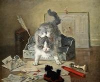 chat jouant sur le bureau by charles monginot