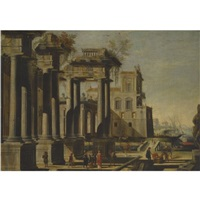 a mediterranean harbor capriccio with figures beneath classical ruins by vicente giner