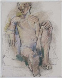 desnudo sentado by alfonso albacete