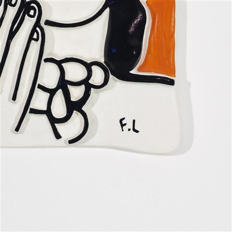 visage aux deux mains sur fond orange by fernand léger