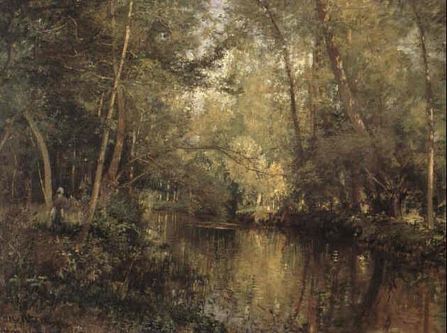 Skogsparti Vid Vatten Frankrike By Alfred Wahlberg On Artnet
