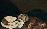 still life with a pitcher, top, apples, figs and bread by francesco della questa