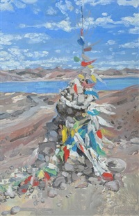 prayer flags at the pass, tibet by hector mcdonnell