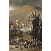 a view of rocca sinibalda, italy by julius jacob the younger