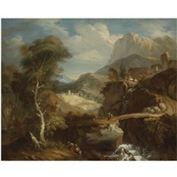 extensive mountainous landscape with travelers crossing a ravine by francois le moyne
