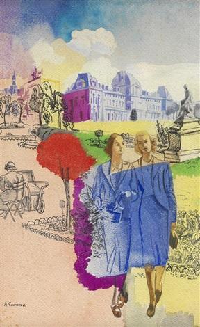 jeunes femmes aux tuileries by alfred louis courmes
