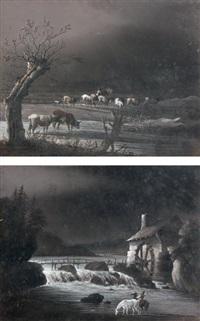 cavalier près d'un moulin à eau et berger menant son troupeau à l'abreuvoir (pair) by remacle joseph laurenty