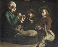 a man playing the shawm before two shepherd boys, with a lamb on his lap by jean-jacques de boissieu