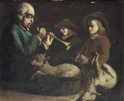 a man playing the shawm before two shepherd boys with a lamb on his lap by jean jacques de boissieu