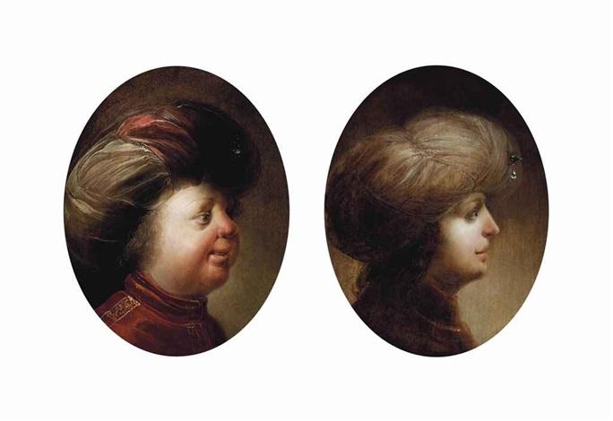 portrait of a gentleman bust length in a red coat and turban portrait of a gentleman bust length in profile in a red coat and white turban pair by jan van de venne