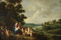 adoration of the holy family by jan van kessel and peeter van avont
