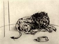 recumbant lion by william kentridge