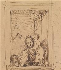 eine mutter mit ihren kindern am fenster by johann baptist reiter