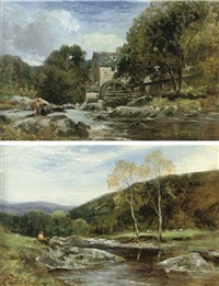 river scene, north wales (+ an old mill, north wales; pair) by arthur wellesley cottrell