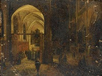 priests reading mass in a church interior by hendrick van steenwyck the younger