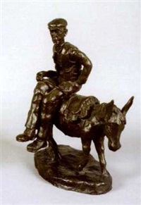 western farmer on back of donkey by gary trimble