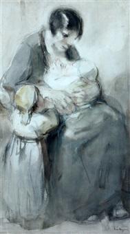 moeder met baby en peuter by han van meegeren
