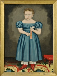 portrait of a blond-haired child wearing a blue dress holding a watch, standing on a patterned carpet by erastus salisbury field