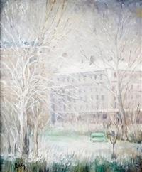 paris, la place adolphe-max et le square hecto berlioz (9e arrondt) sous la neige by marie madeleine de rasky