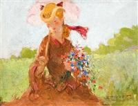 jeune femme au bouquet de fleurs by georges picard