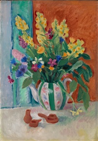 still life with wildflowers in a teapot and clay toys by nikolai andreevich tyrsa