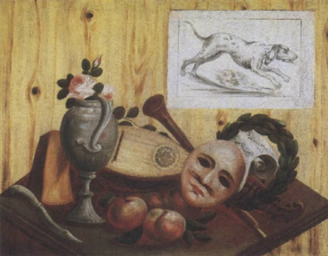 a trompe loeil of a drawing of a dog attached to a wooden partition above a table with an assortment of musical instruments fruit cheese flowers and a mask by french school alsatian 18