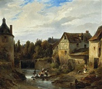 a view of a village with women washing clothes in a stream by robert léopold leprince