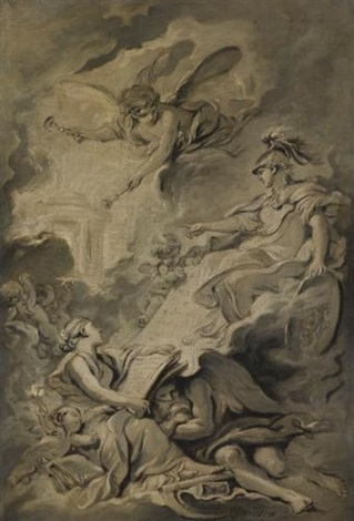 an allegorical subject possibly the triumph of minerva by françois boucher
