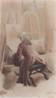 an artist in his studio by charles bargue