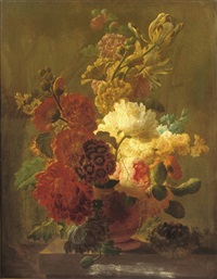 roses, tulips, violets and other flowers in an urn on a stone ledge with a bird's nest by pieter faes