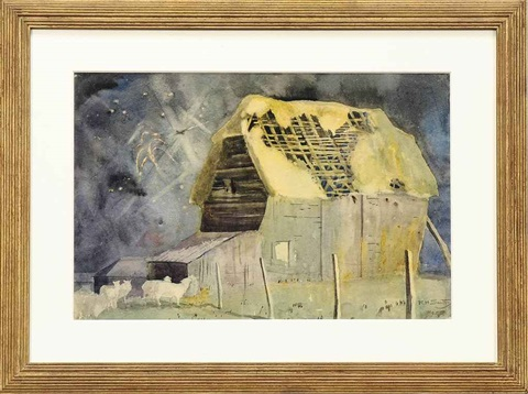 landscape with barn by rudolf helmut sauter